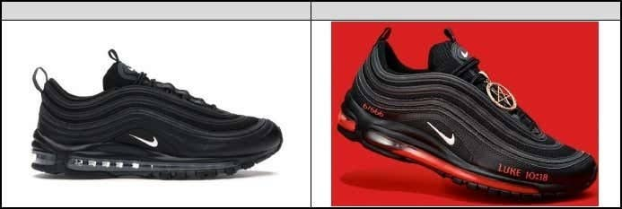 A black Nike sneaker is seen beside the same shoe modified with a pentagram and a reference to Luke 10:18