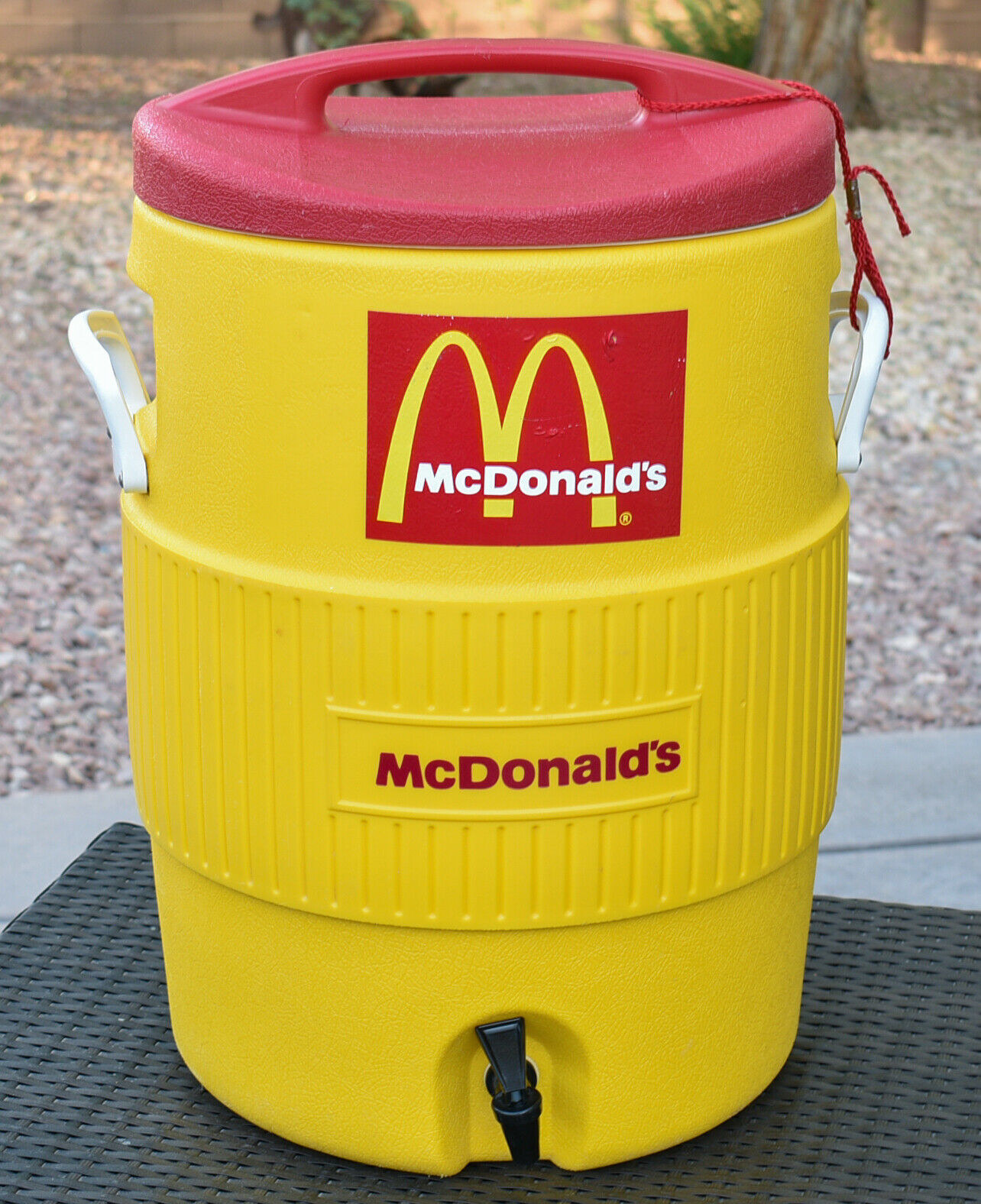A large yellow color with the McDonald's logo on it