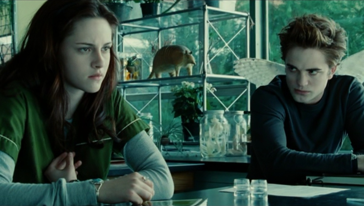 Edward stares at Bella during their class