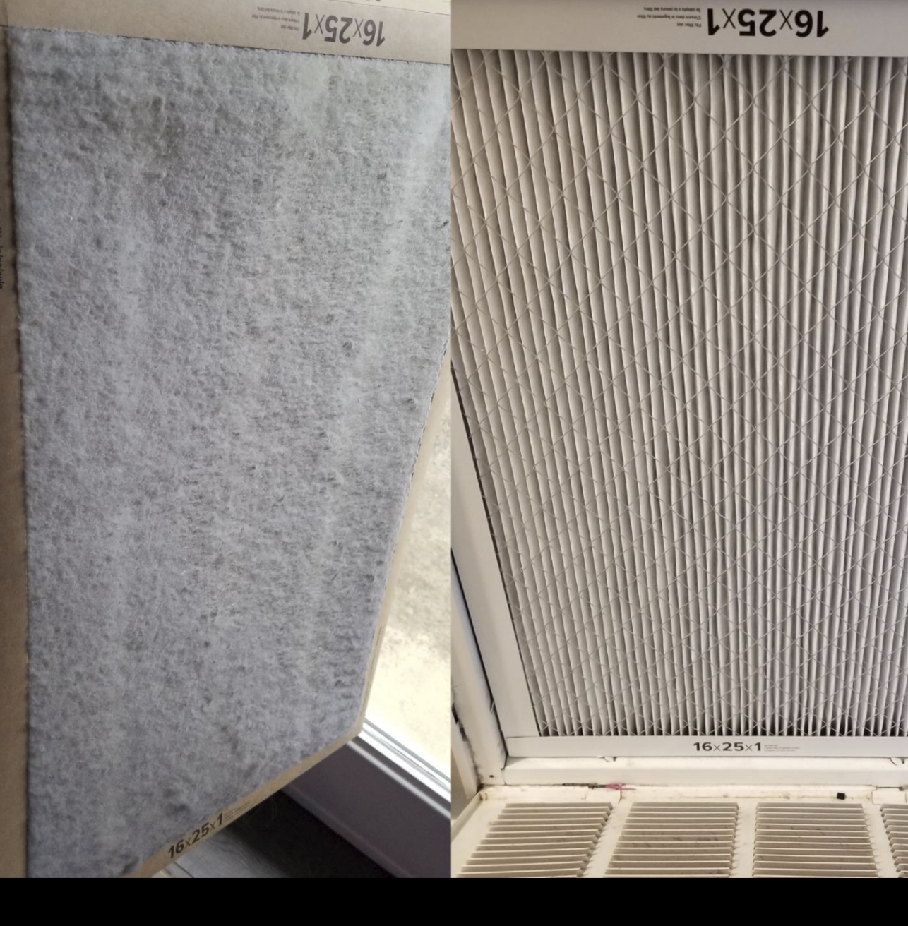 left side shows the filter full of dust (which of course means it's working) and the right side shows the filter when it was first put into the vent