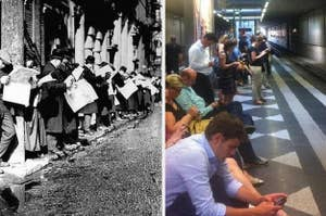 People reading papers waiting for public transit in 1920 and on their phones waiting todaty