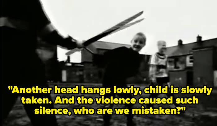 """Lyrics: Another head hangs lowly, child is slowly taken.And the violence caused such silence, who are we mistaken?"""""""