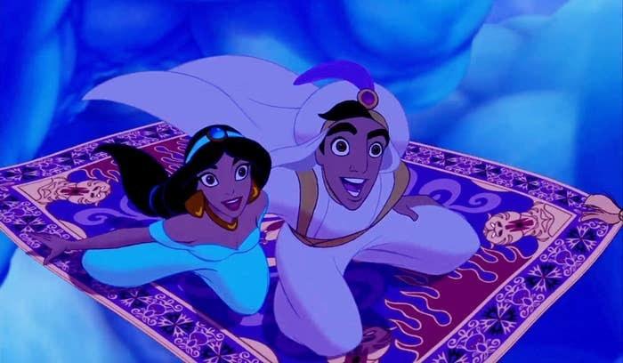 A screenshot of Jasmine and Aladdin flying on Carpet through the sky