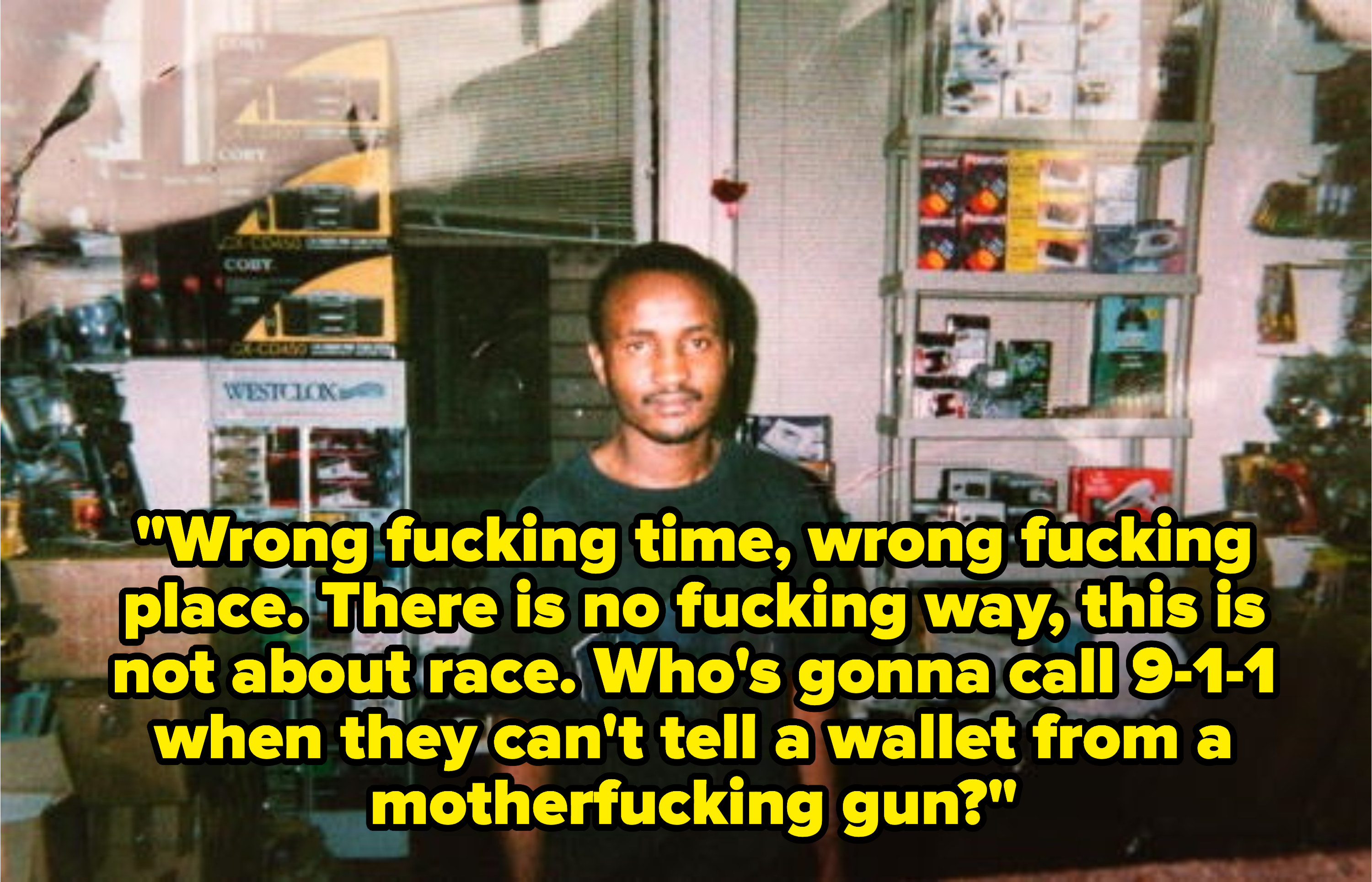 Lyrics: Wrong fucking time, wrong fucking place. There is no fucking way, this is not about race. Who's gonna call 9-1-1 when they can't tell a wallet from a motherfucking gun?