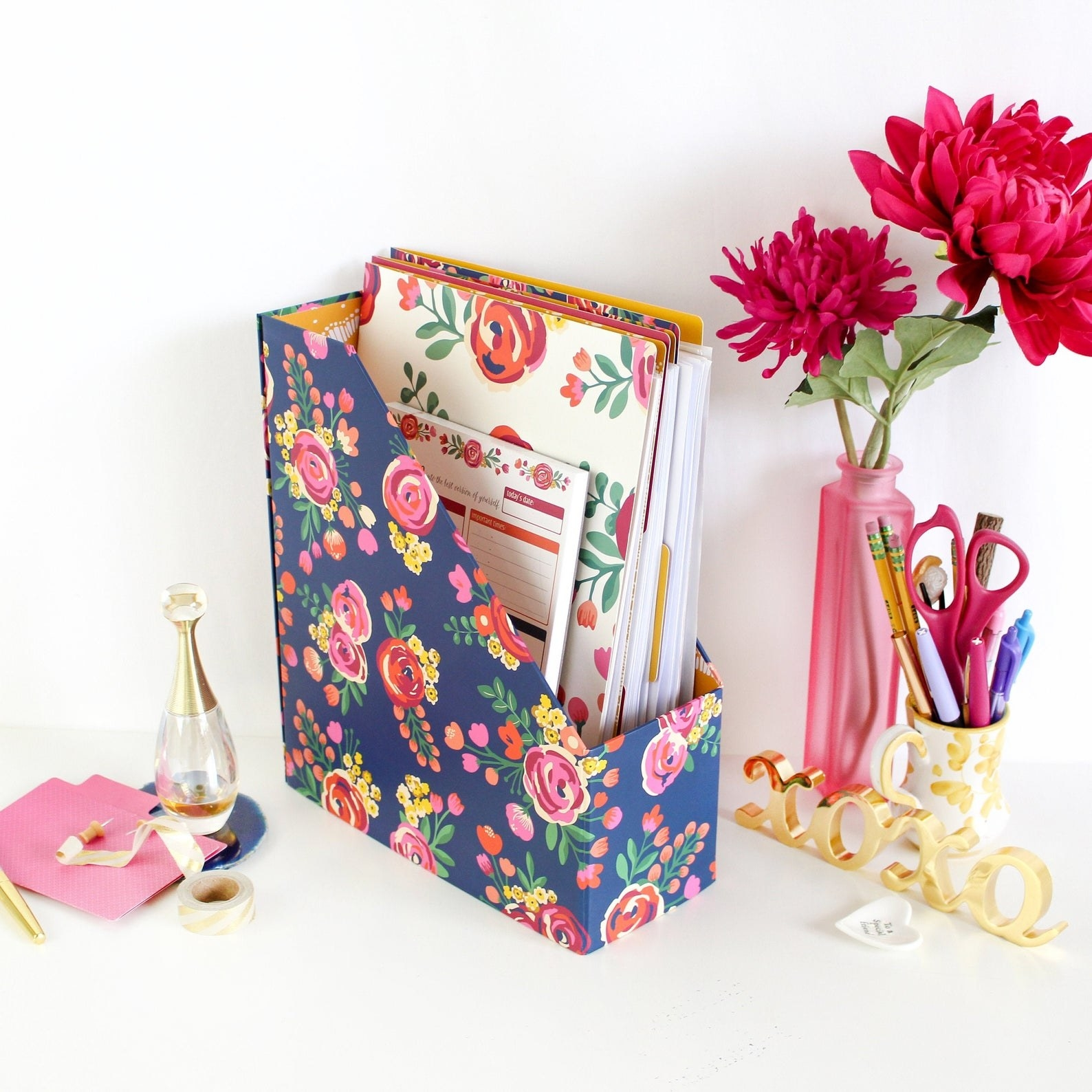 Floral file folder on desk