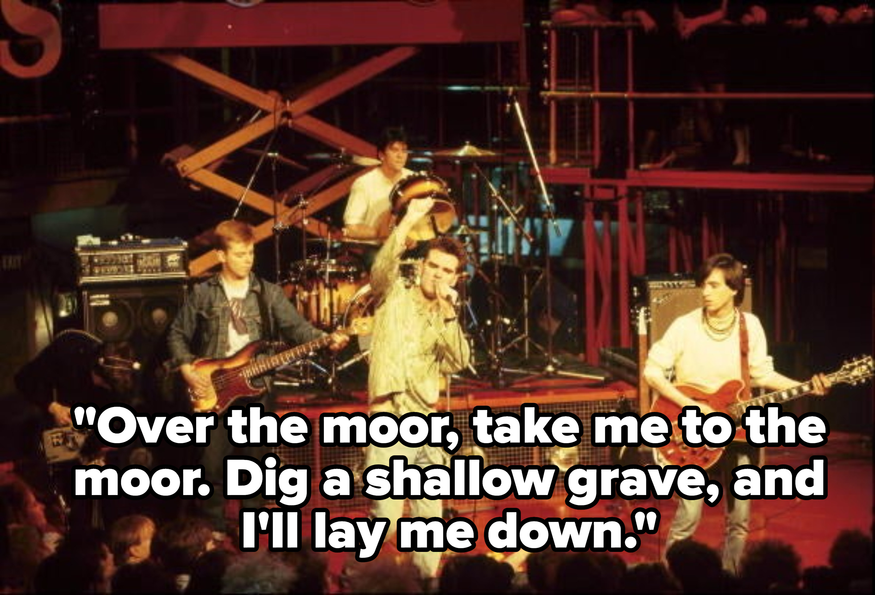 Lyrics: Over the moor, take me to the moor, dig a shallow grave, And I'll lay me down