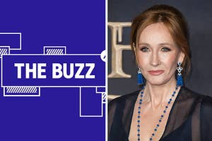 Splitscreen of purple graphic with THE BUZZ in white letters on the left side and a photo of JK Rowling on the right side (CREDIT: GETTY)