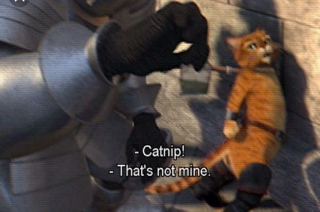 """A knight saying """"catnip!"""" and puss in boots replying """"that's not mine!"""""""