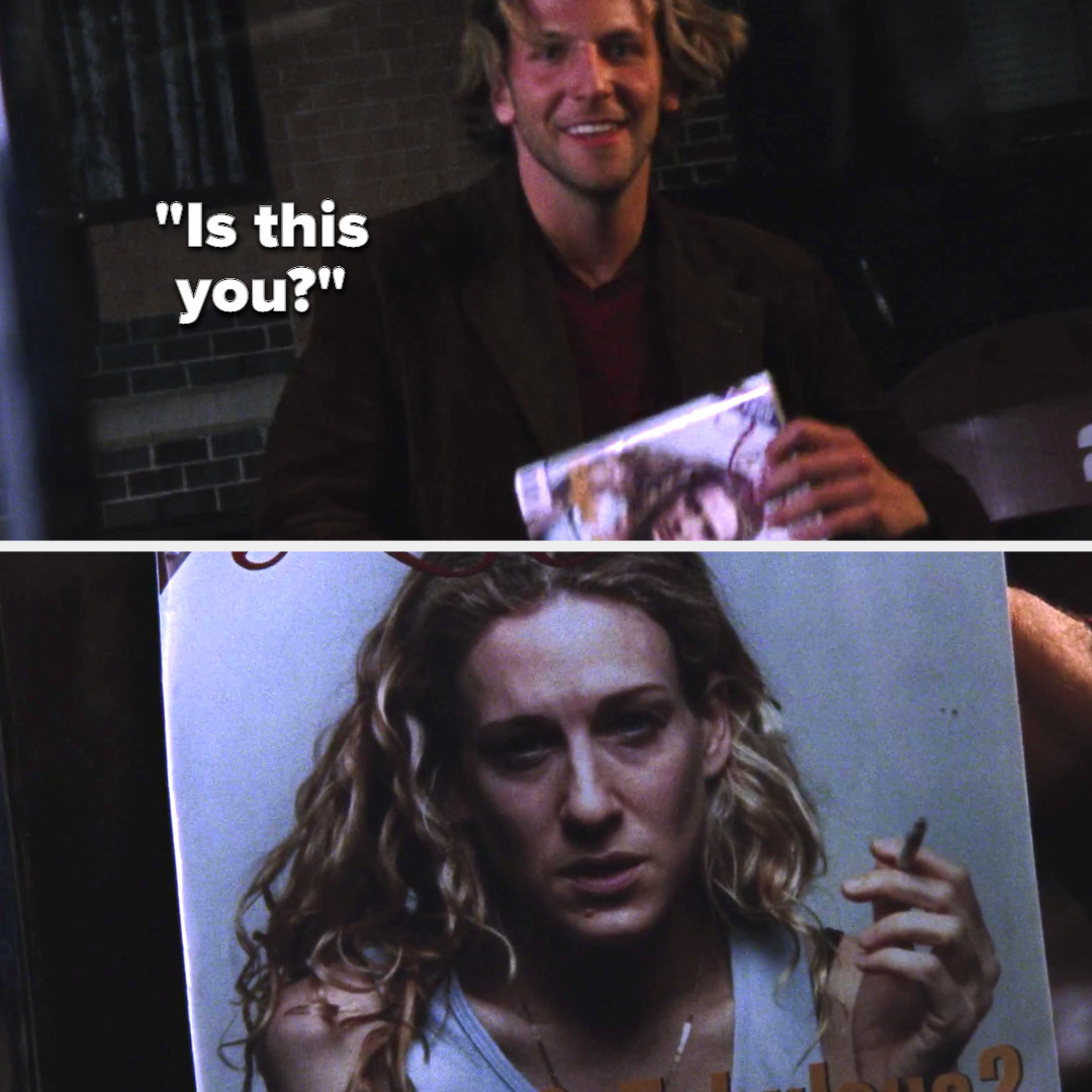 """Bradley holds up a magazine with Carrie's face on it, asking """"Is this you?"""""""