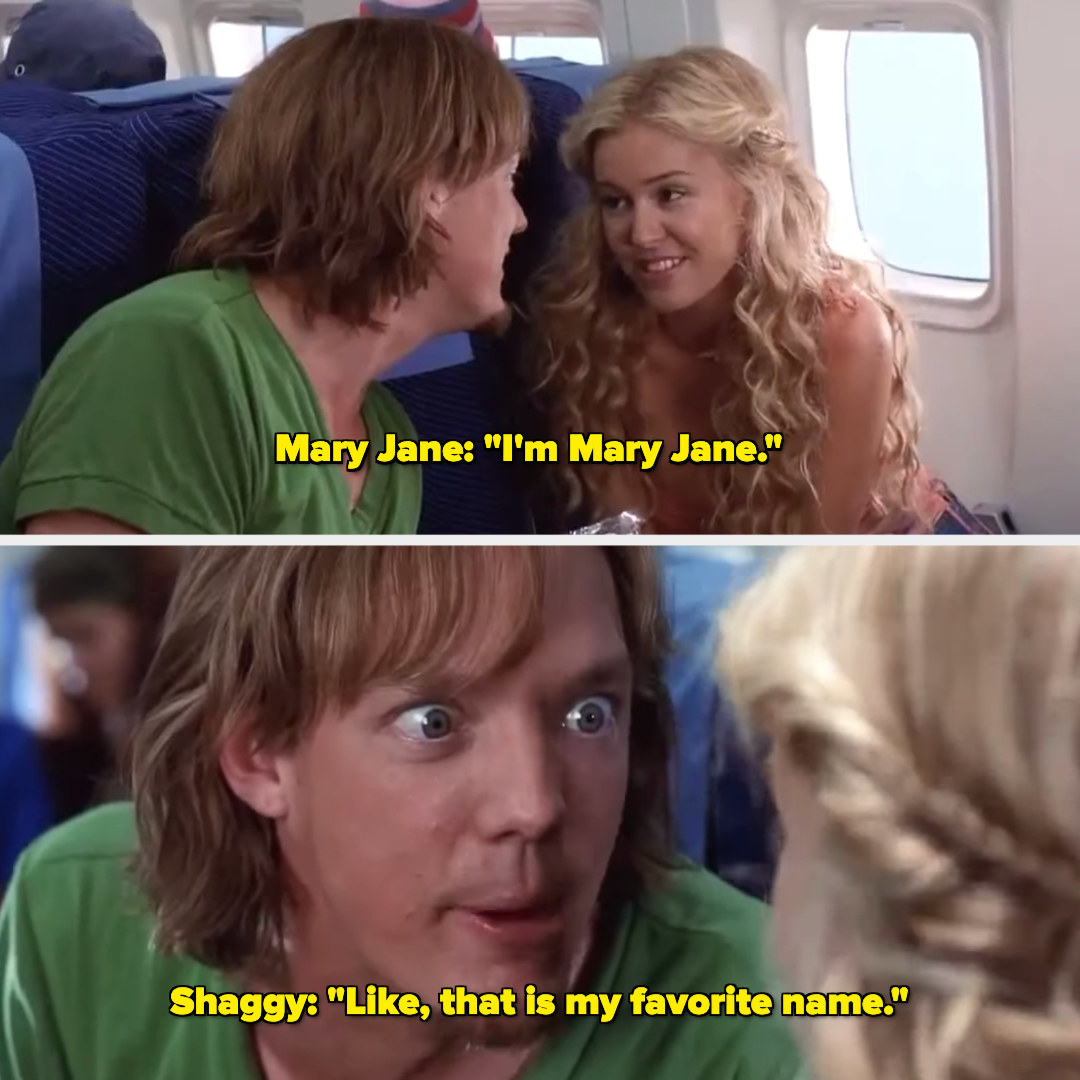 """Woman saying """"I'm Mary Jane"""" and Shaggy saying """"Like, that is my favorite name."""""""