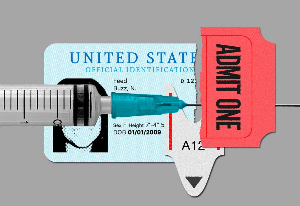 "An illustration shows an ID card, a take-a-number ticket, an ""admit one"" movie ticket, and a syringe lying perpendicular among these items"