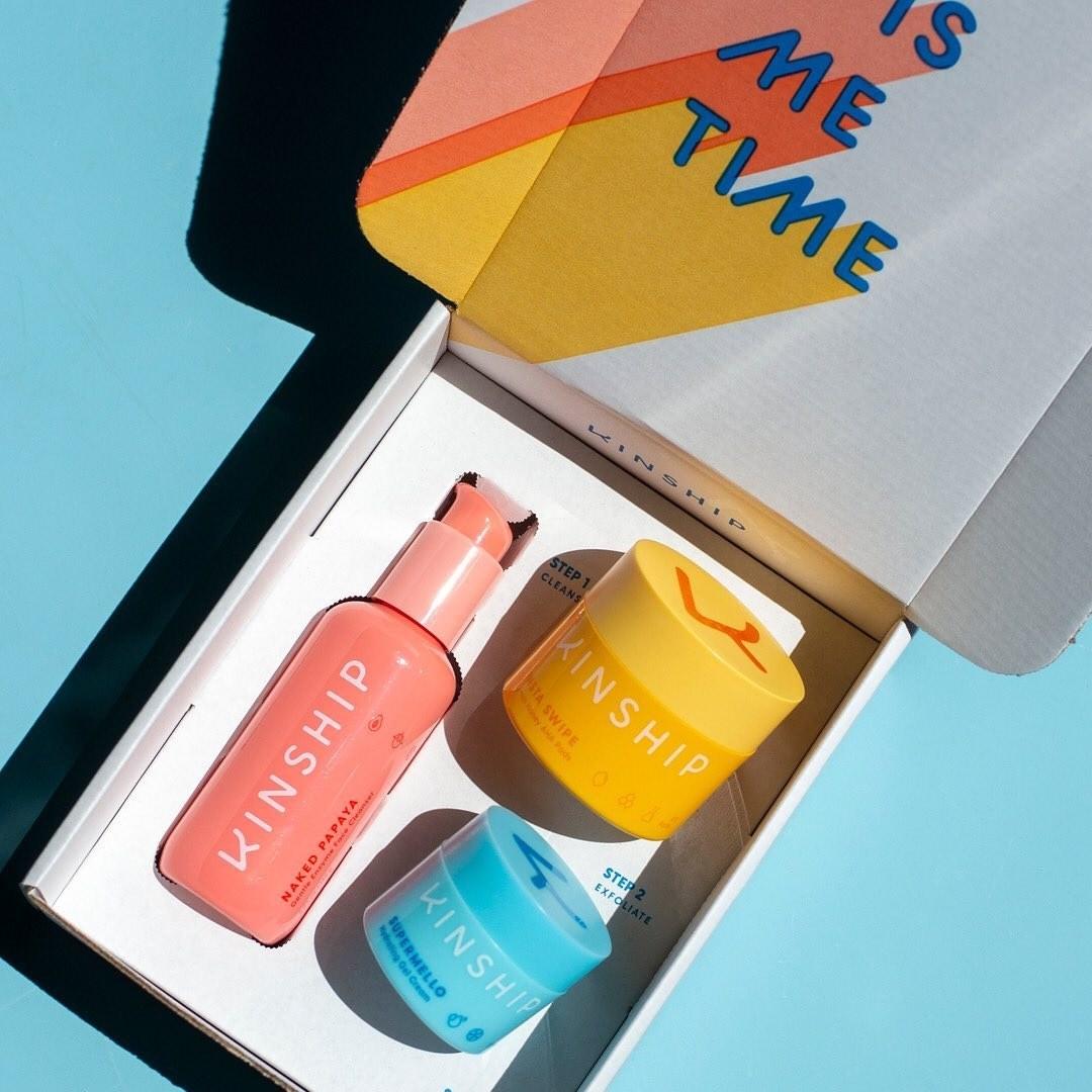 Kinship 3-piece essential skincare set in box