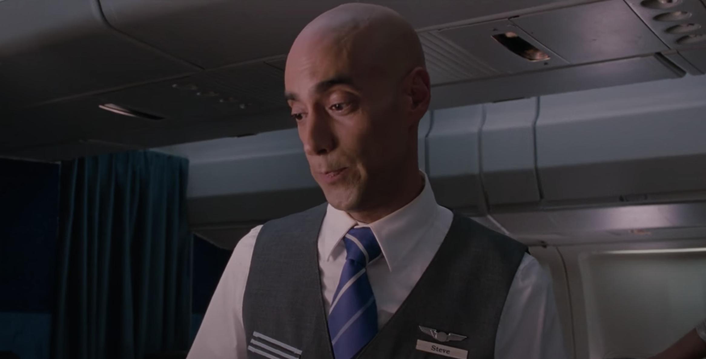 """Flight attendant Steve in """"Bridesmaids"""""""