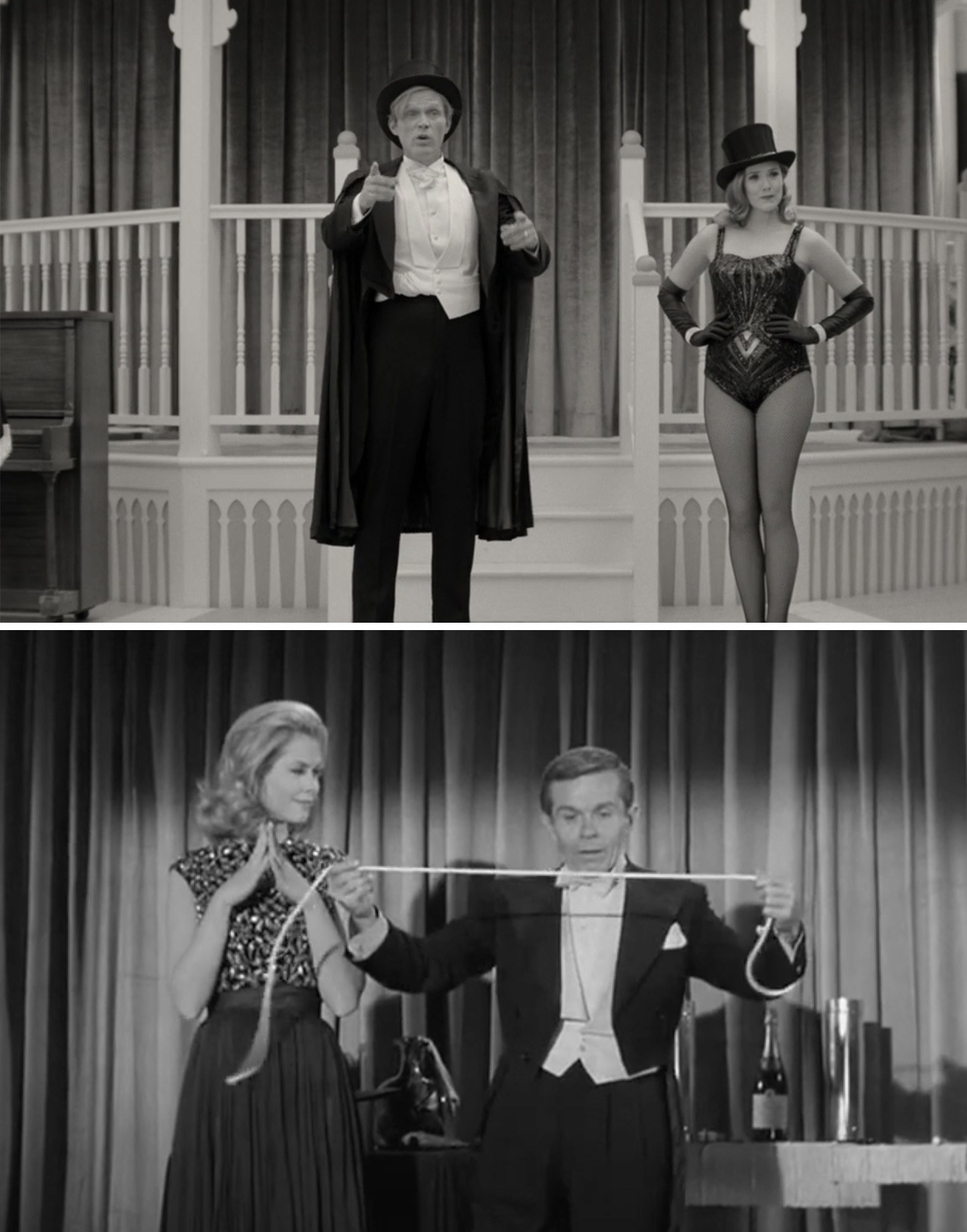 """Wanda standing next to Vision while performing magic vs. Samantha helping a magician fix a piece of rope on """"Bewitched"""""""
