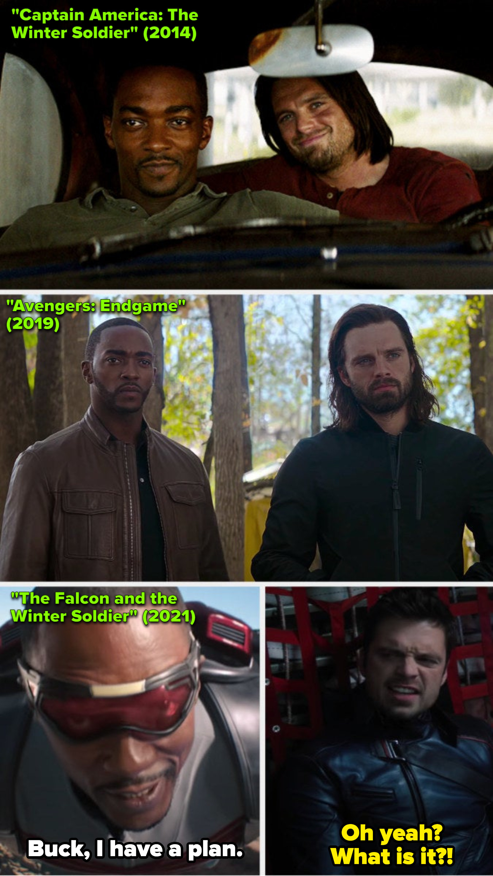 """Stan and Mackie in """"The Winter Solider"""" (2014); Stan and Mackie in """"Avengers: Endgame"""" (2019); Stan and Mackie in """"The Falcon and the Winter Solider"""" (2021)"""