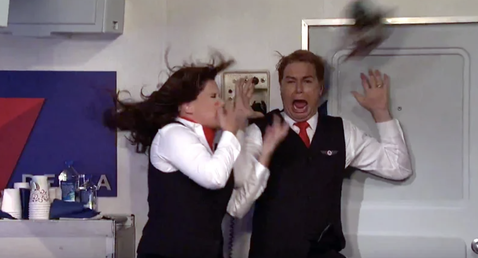 """An """"SNL"""" sketch where two flight attendants are scared"""