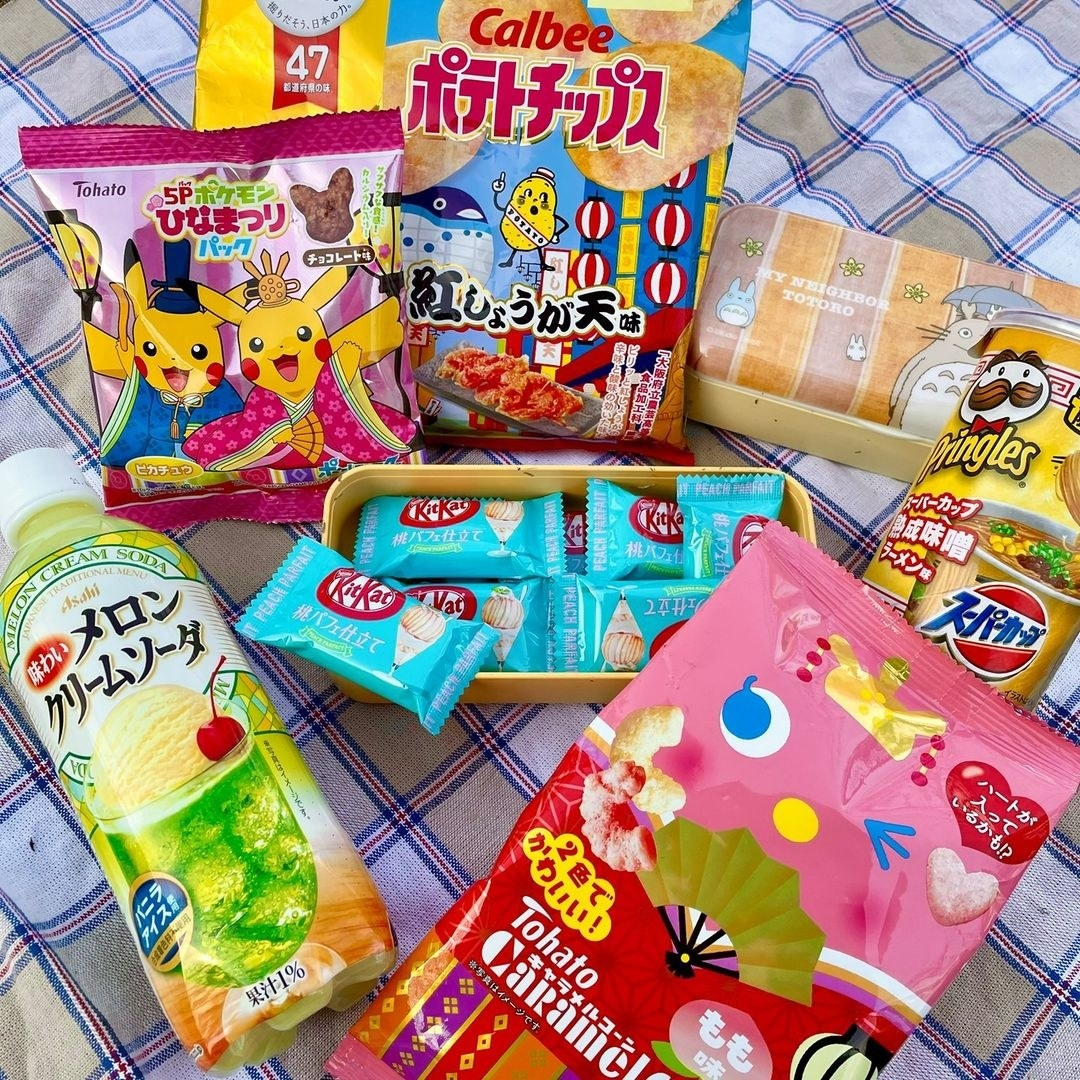 assorted japanese snacks and candies