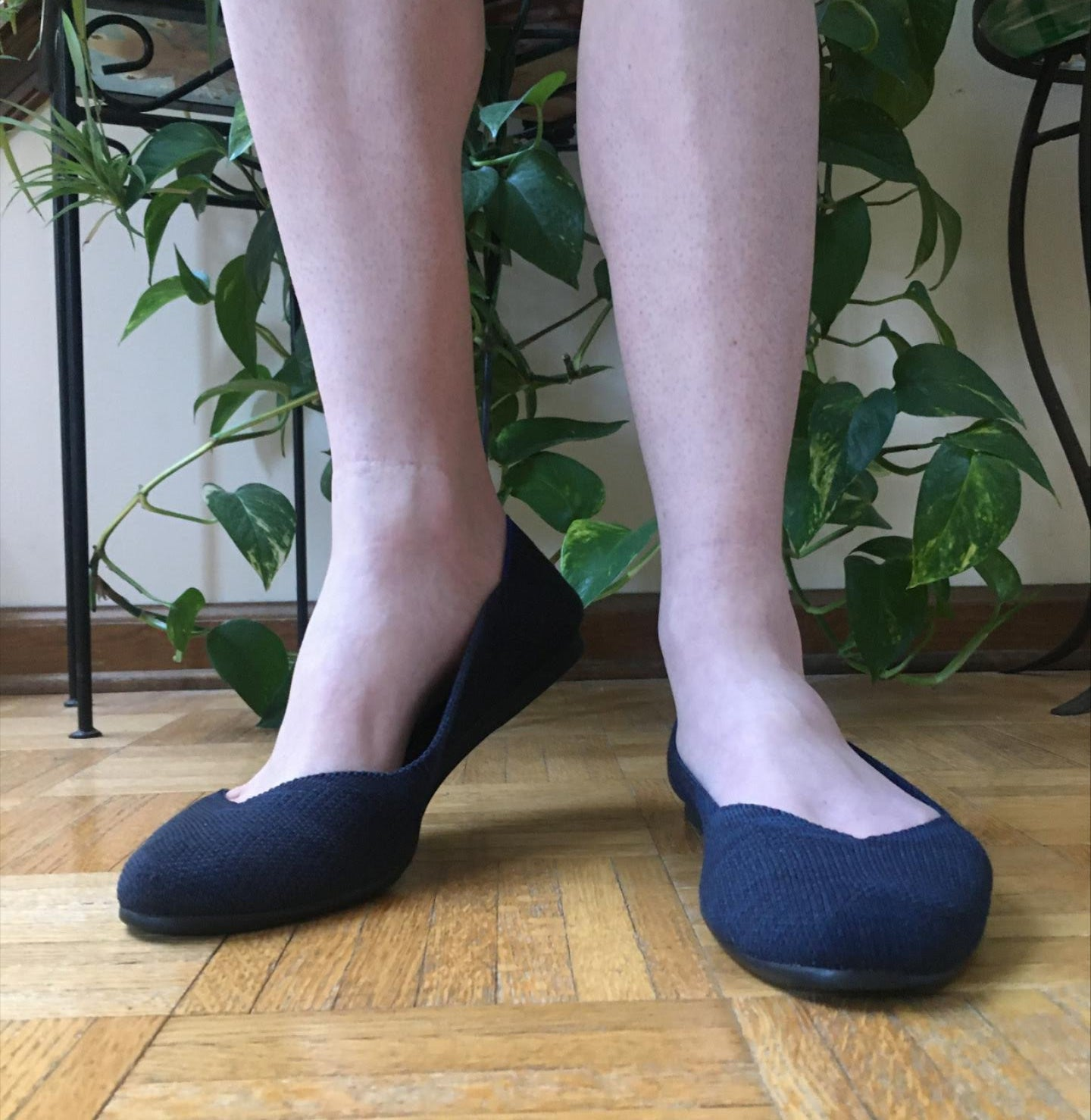 natalie in navy fabric round-toe flats