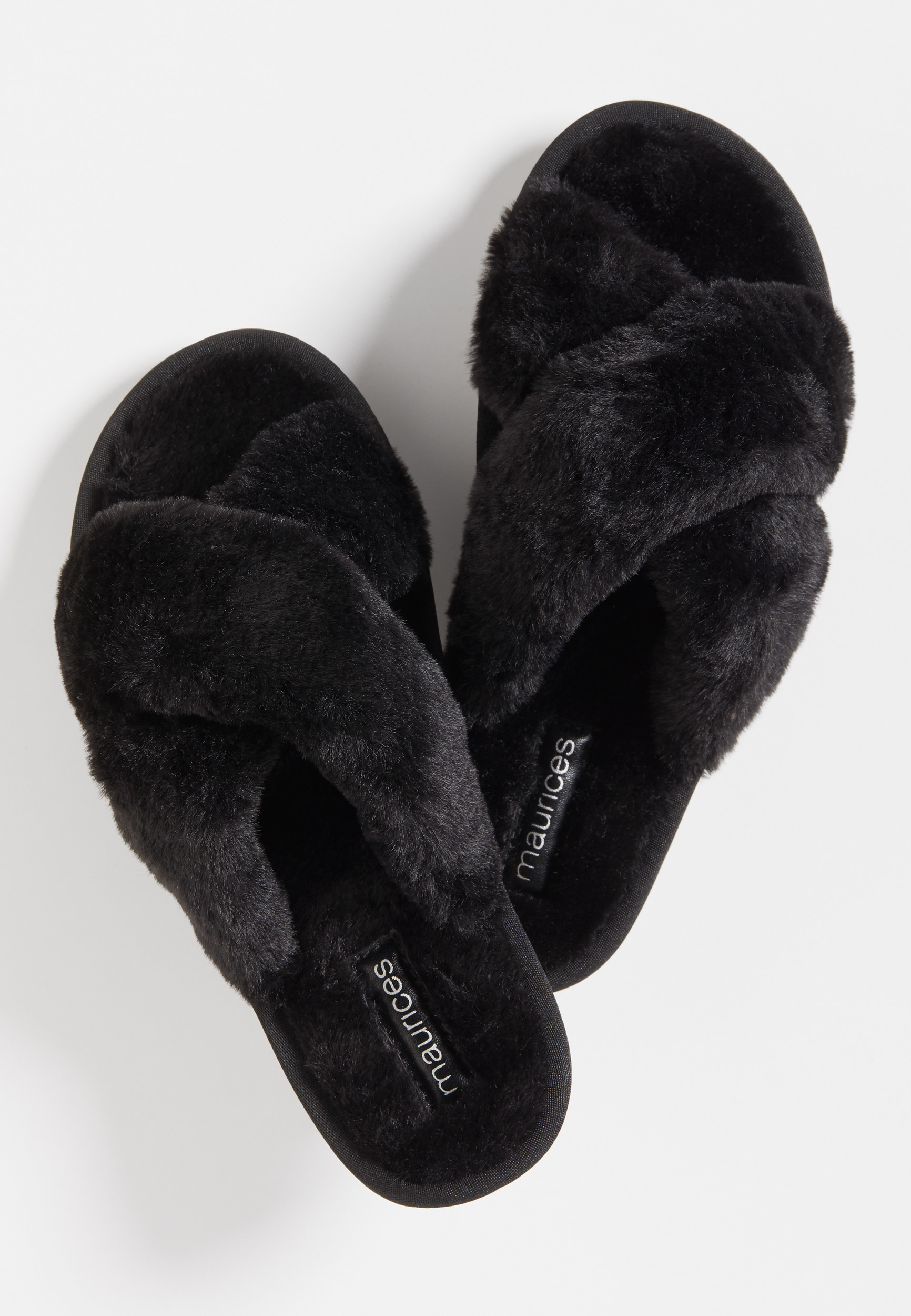 the black faux fur slippers