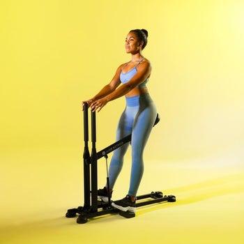 a model using the squat machine