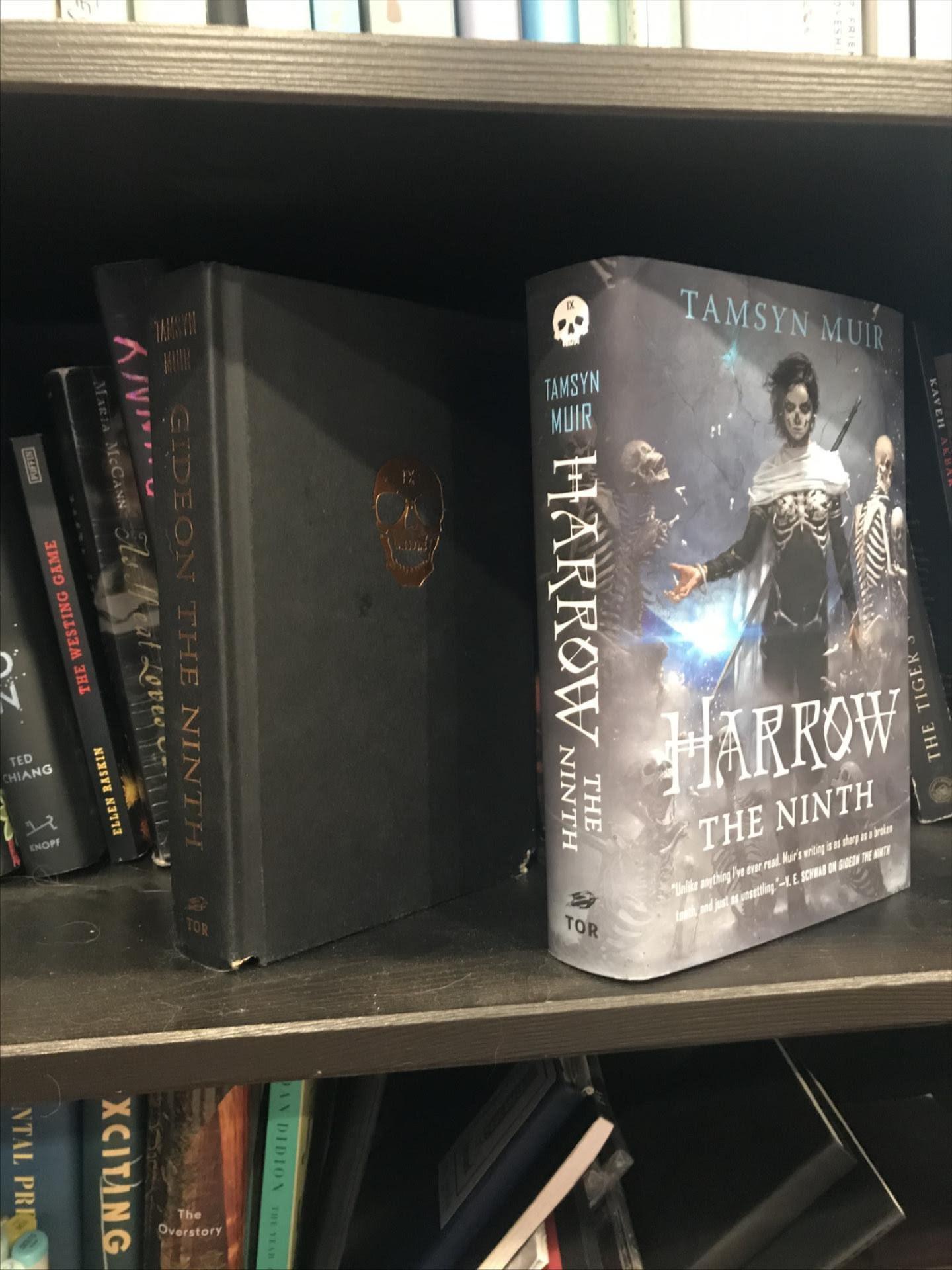 natalie's locked tomb books on a shelf