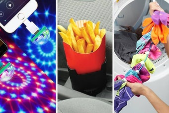 Phone disco balls, a fry holder, and a sock dock