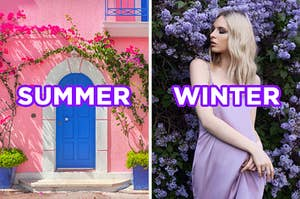 """On the left, the exterior of a building with plants blooming all around labeled """"summer,"""" and on right, someone standing in front of flower bushes while wearing a flowy dress labeled """"winter"""""""