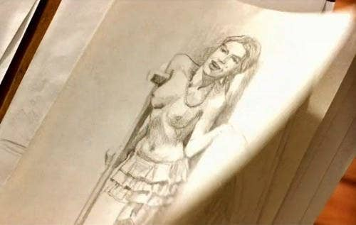 A pencil sketch of topless one with one leg and crutch