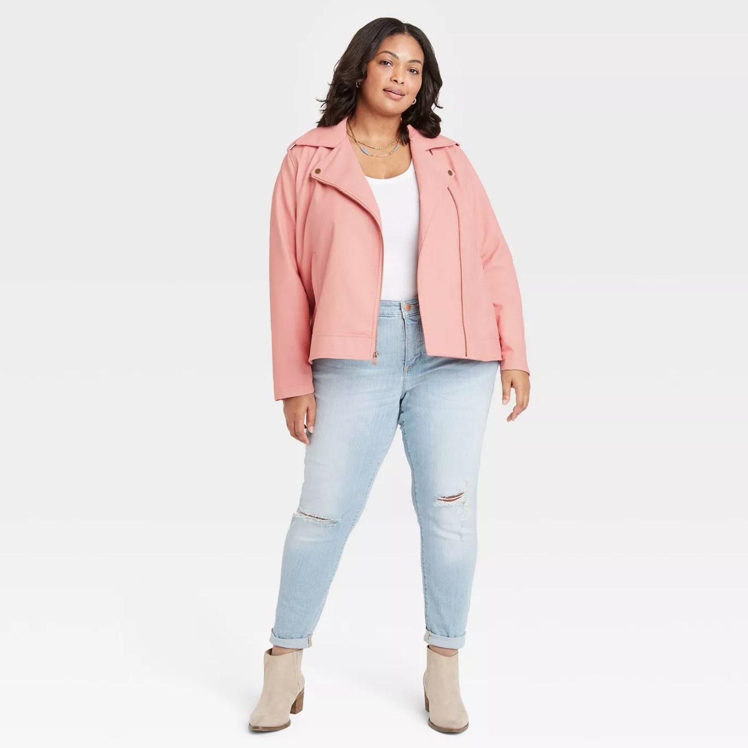 Plus-sized model wearing the jacket