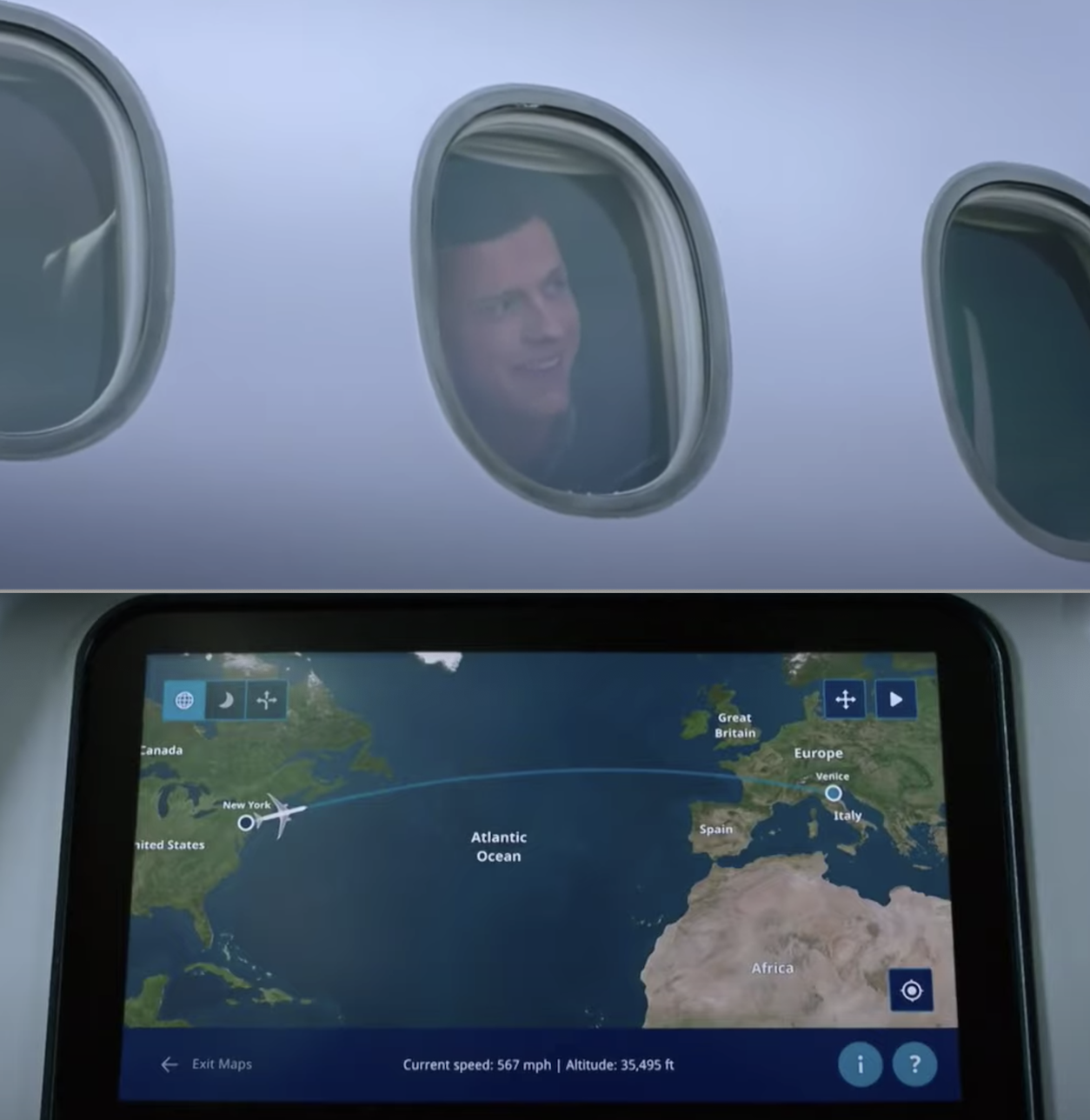 """Peter Parker on a flight in """"Spider-Man: Far From Home"""""""