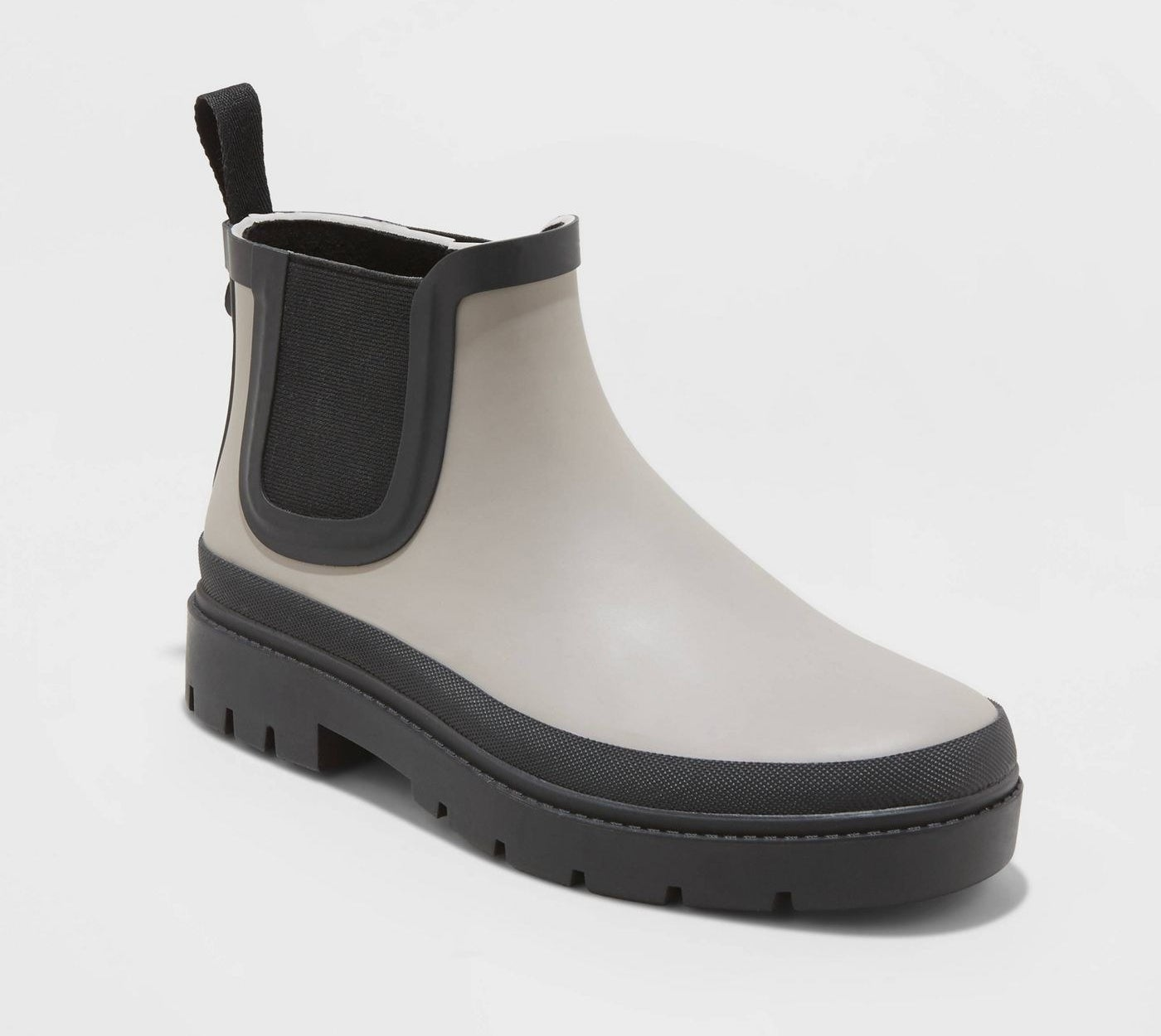 gray and black color blocked thick sole Chelsea rain boots