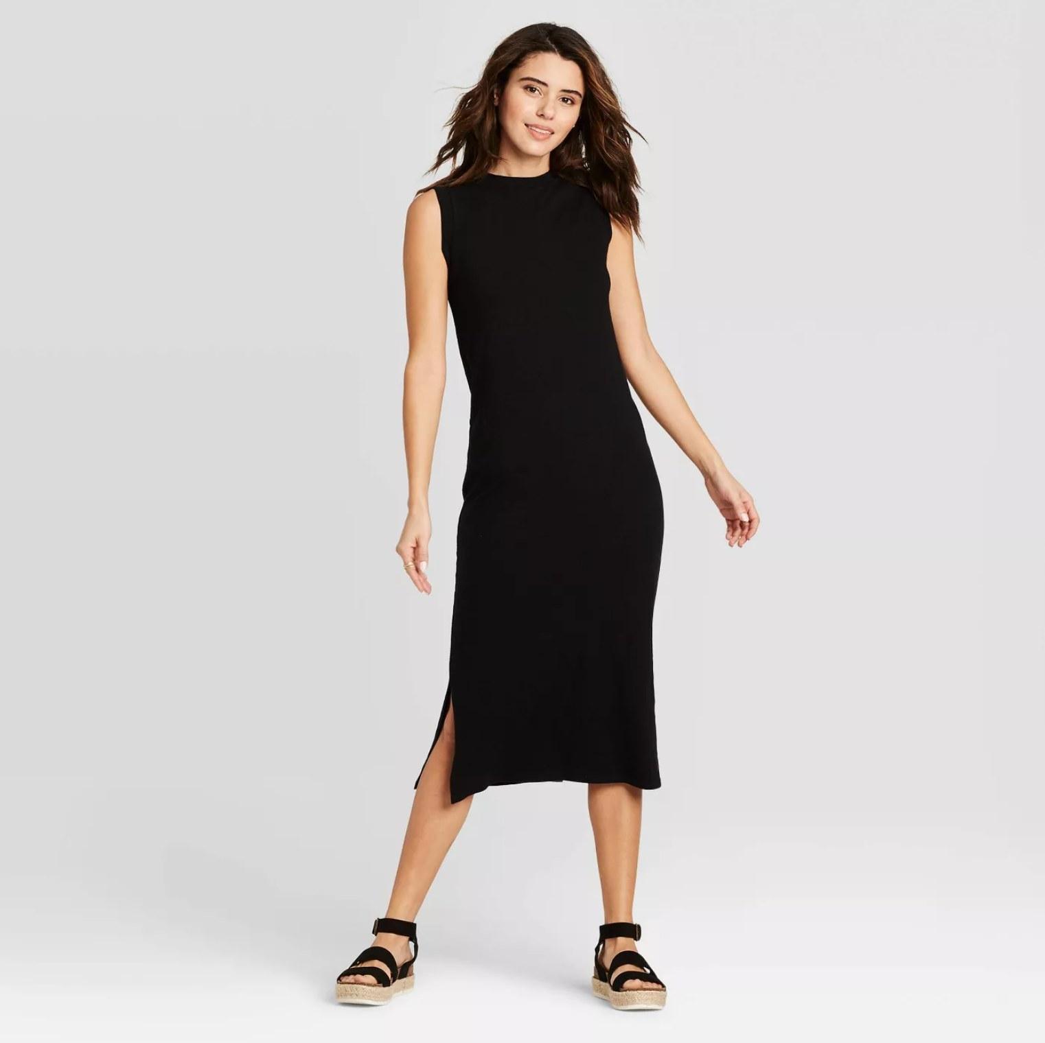 Model wearing the dress in black