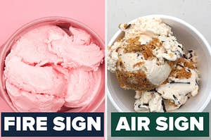 pink strawberry ice cream with the text air sign under it and cookies and cream ice cream with the text fire sign under it
