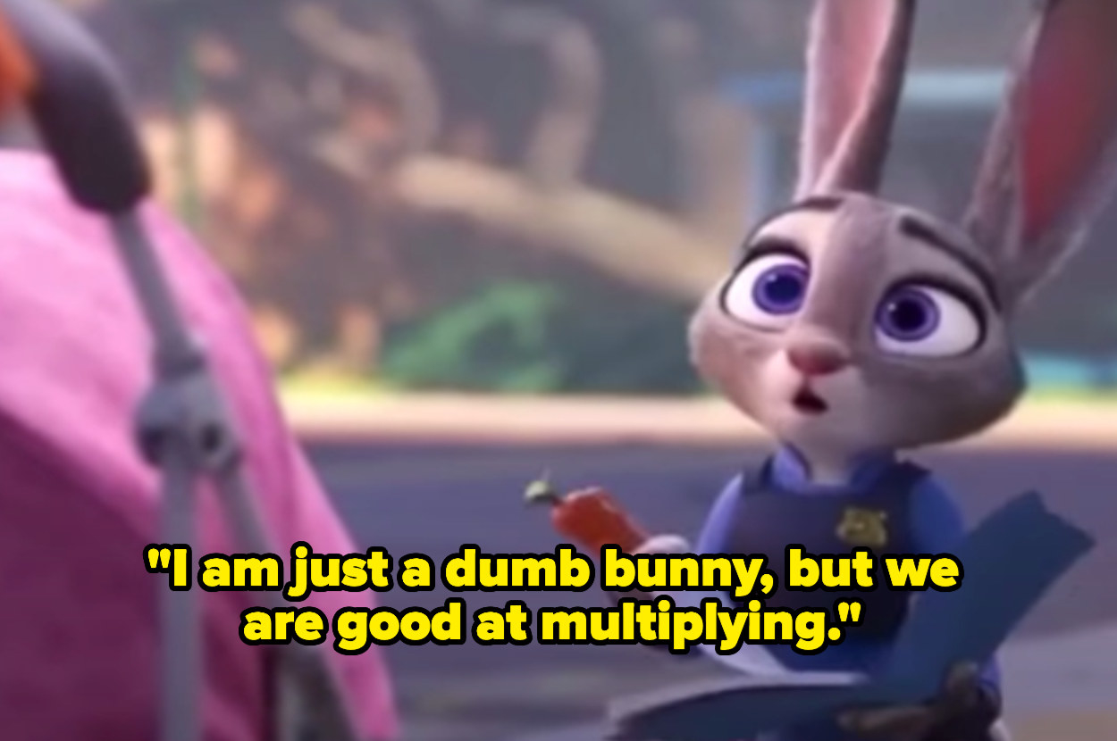 """Judy saying """"I am just a dumb bunny, but we are good at multiplying."""""""