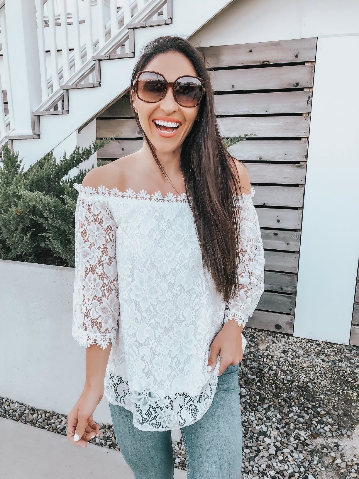 a reviewer in the lace off the shoulder top in white