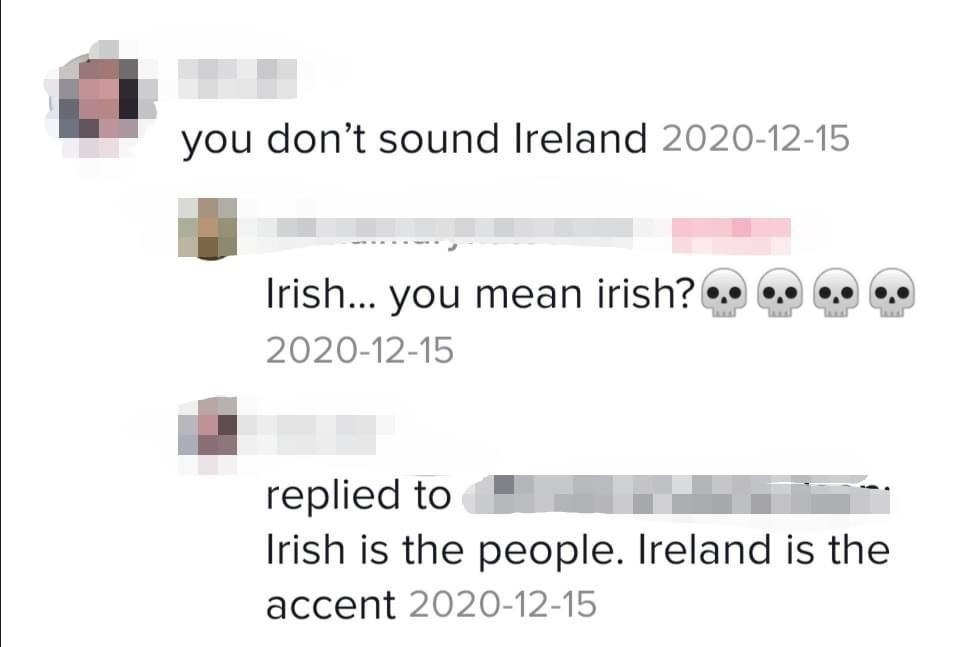 facebook conversation where someone says irish is the people of ireland and ireland is the accent