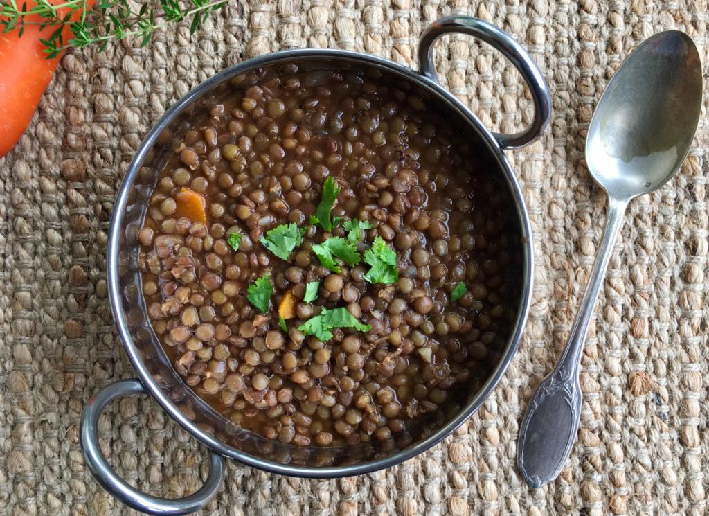 Cooked black lentils.