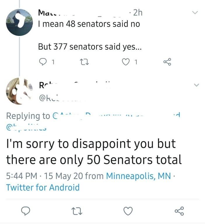twitter conversations where someone thinks there are 377 senators