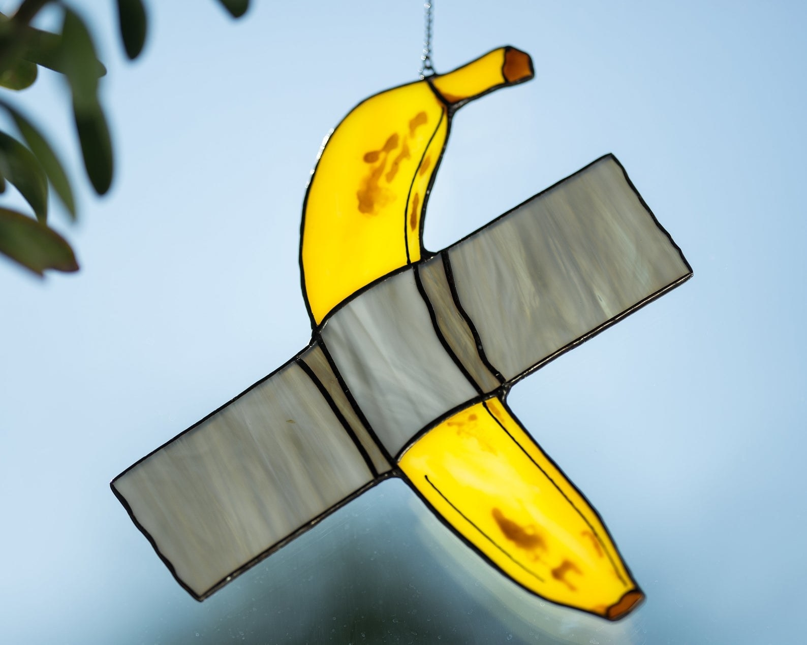 the yellow banana and duct tape stained glass