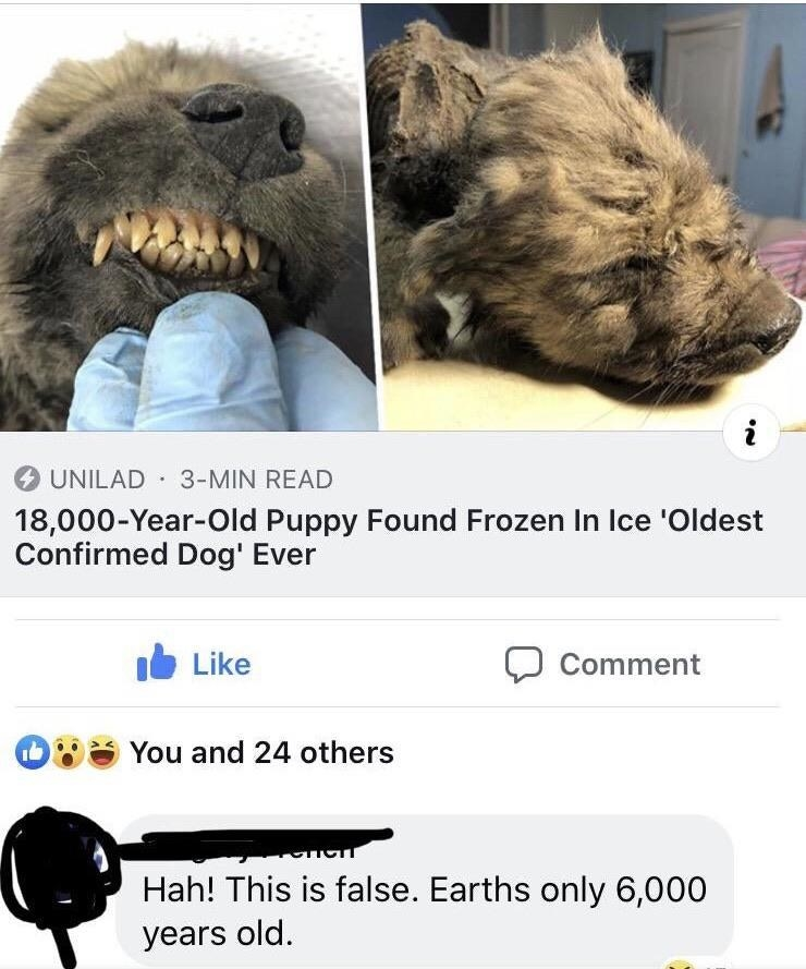 facebook comment saying the earth is 6000 years old