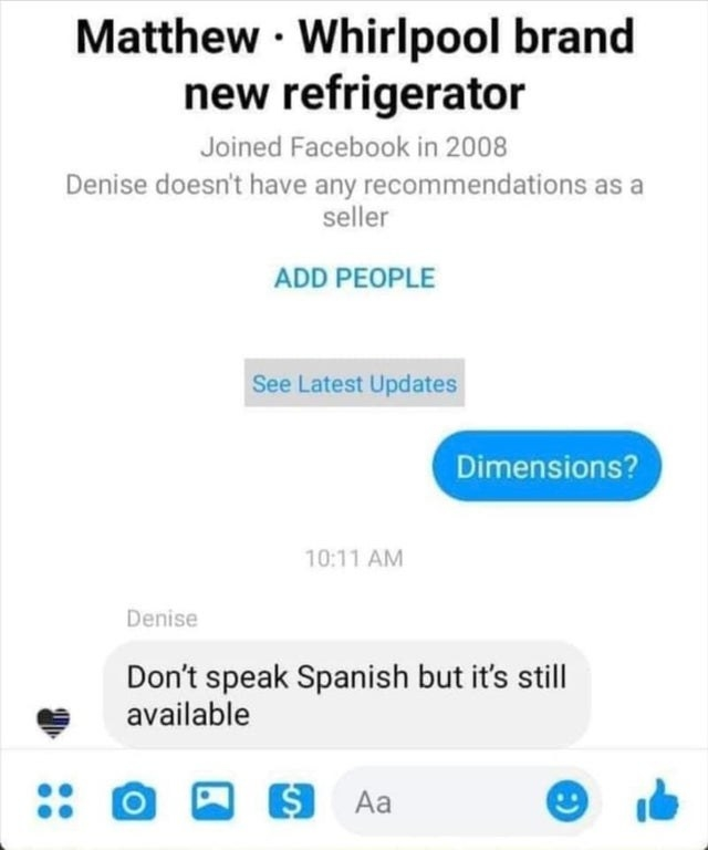 facebook convo where someone asks for the dimensions of a washing machine and the other person says they don't speak spanish