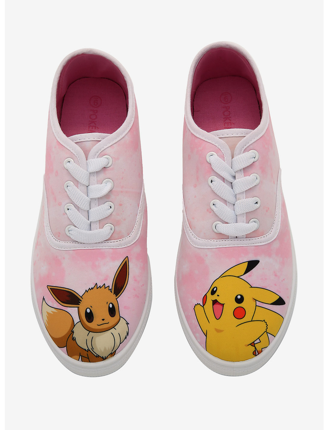 the pink tie dye lace-ups with Eevee on one foot and Pikachu on the other