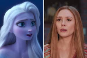 Elsa is on the left looking toward the center with Wanda on the right looking confused