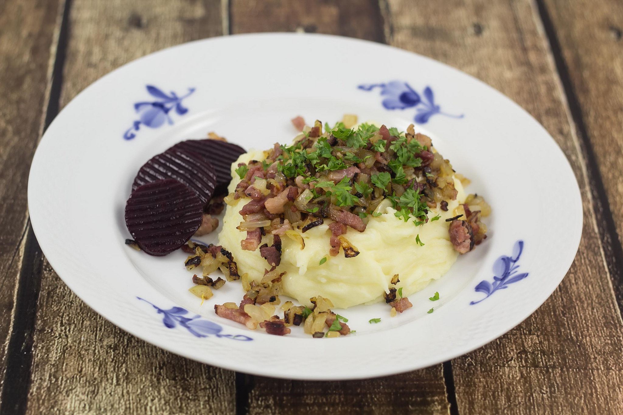 Danish mashed potatoes with bacon and beets.