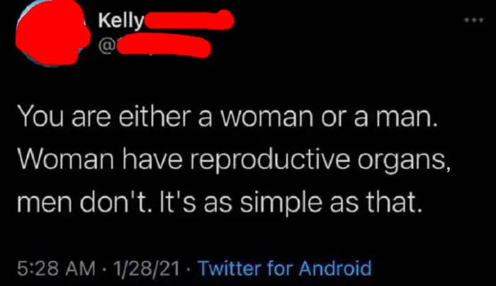 tweet reading you are either a woman or a man women have reproductive organs men do not