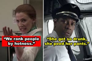 Side-by-side of a flight attendant and a pilot in a movie