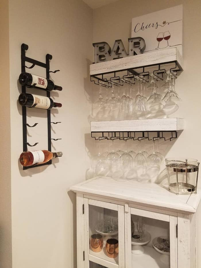 Reviewer wine racks in use in kitchen