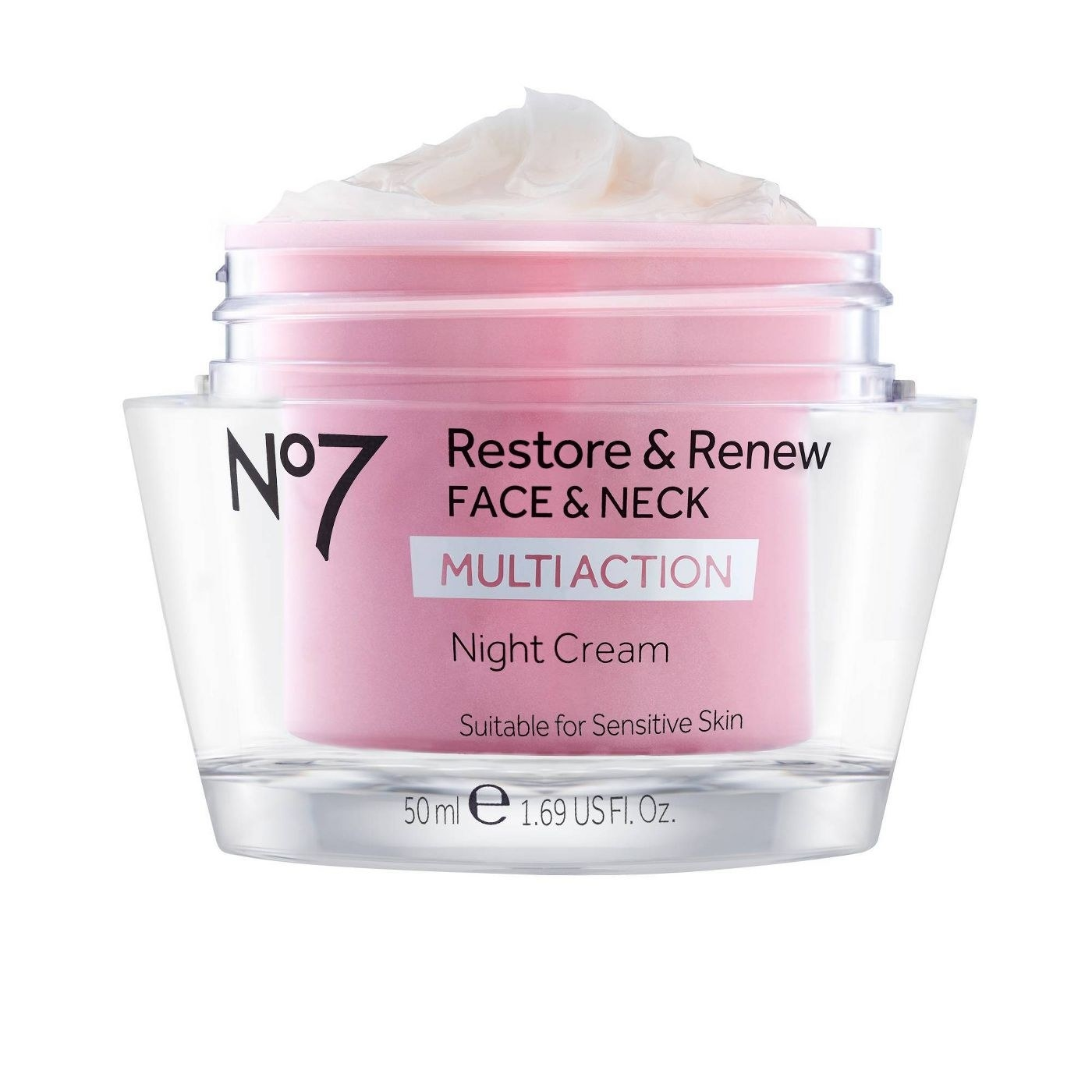 A pink jar with night face cream