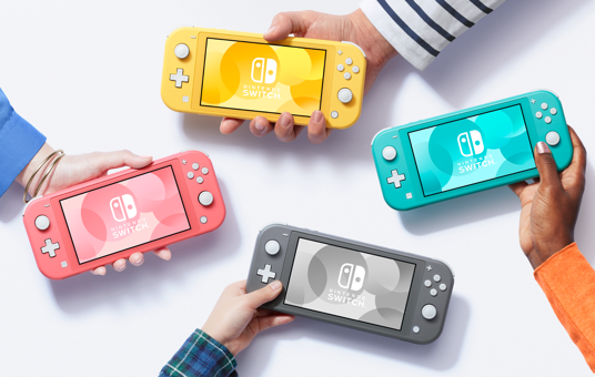nintendo switch lite in yellow, gray, blue, and pink