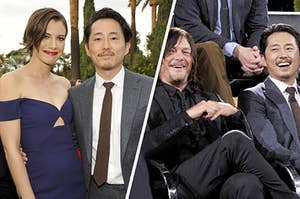 Lauren Cohan, Norman Reedus and Steven Yeun posing together